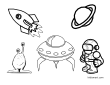 Space Theme Coloring Page