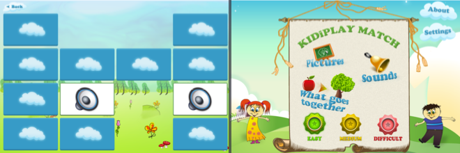Memory game matching sounds – educational apps for kids